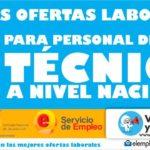 Convocatorias laborales abiertas para personal técnico a nivel Nacional